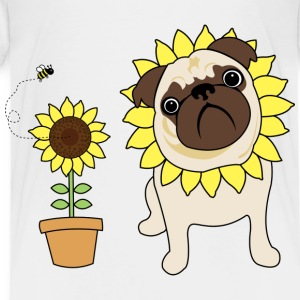 White Sunflower Pug Kids Shirts - Toddler Premium T-Shirt
