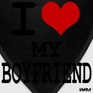 Black i love my boyfriend by wam T-Shirts - Bandana