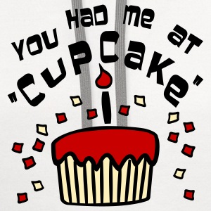 White You Had Me At 'Cupcake' With Confetti Women's T-shirts - Contrast Hoodie