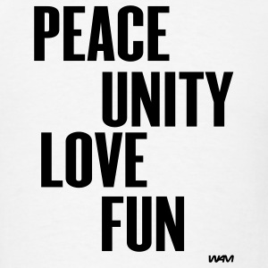 White peace unity love and fun by wam Hooded Sweatshirts - Men's T-Shirt