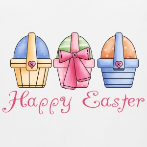 White Happy Easter Baskets Of Eggs Women's T-shirts - Men's Premium Tank