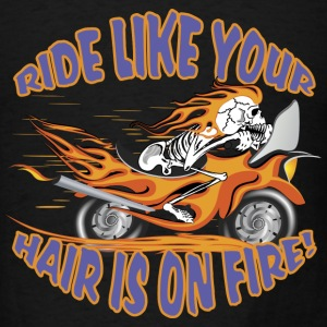 Flaming Motorcycle Skull - Men's T-Shirt