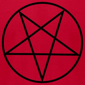 Red Inverted Pentacle / Pentagram Long sleeve shirts - Men's T-Shirt by American Apparel