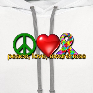 Peace, love, autism awareness - Contrast Hoodie