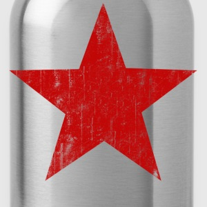 Black Red Star faded  T-Shirts - Water Bottle