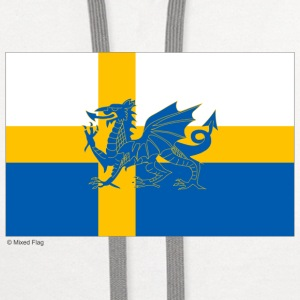 Sweden Wales Mixed Flag - Contrast Hoodie