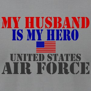 Gray HUSBAND HERO USAF Long Sleeve Shirts - Men's T-Shirt by American Apparel