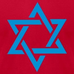 Red Star of David Long Sleeve Shirts - Men's T-Shirt by American Apparel