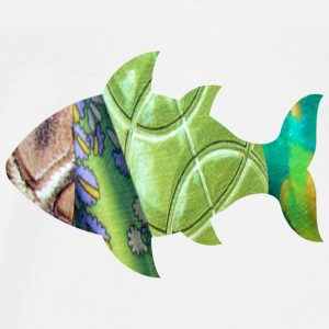 White collage art FISH (greens) Hooded Sweatshirts - Men's Premium T-Shirt