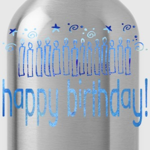 Black HAPPY BIRTHDAY (blue candles) Women's T-Shirts - Water Bottle