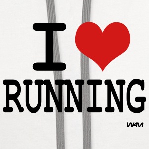 White i love running by wam Tanks - Contrast Hoodie