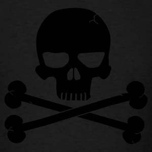 Black Skull with Crossbones Beneith Long Sleeve Shirts - Men's T-Shirt