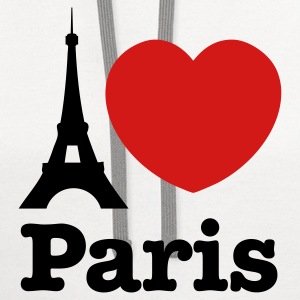 White I Love Paris T-Shirts - Contrast Hoodie