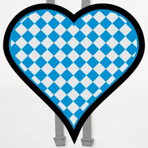 White Bavarian heart (3c) Buttons - Contrast Hoodie