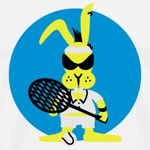 White tennis bunny (b, 3c) Buttons - Men's Premium T-Shirt