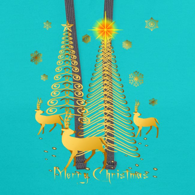 Gold Christmas Trees and Reindeer