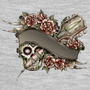 candy skull guitar rose tattoo banner - Baby Contrast One Piece