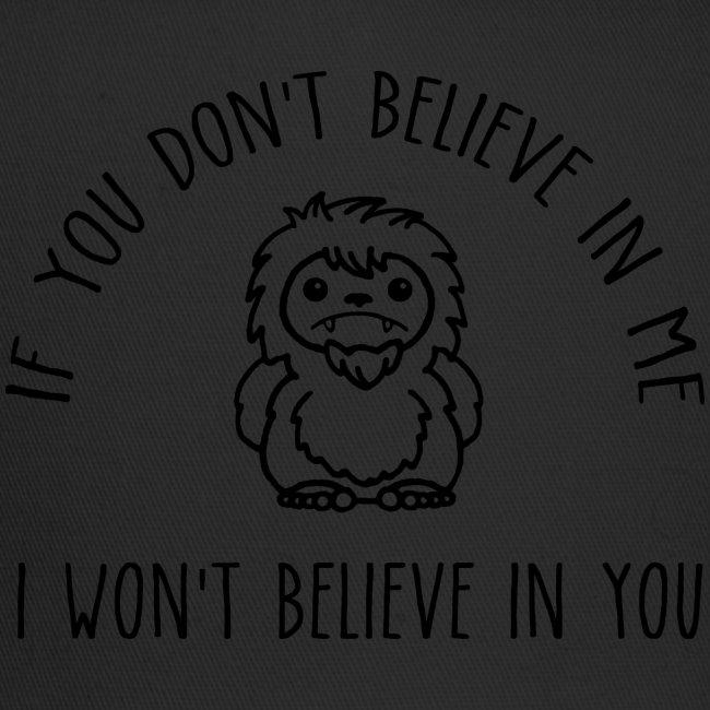 Believe Bigfoot Sasquatch Cute Chibi Black Print