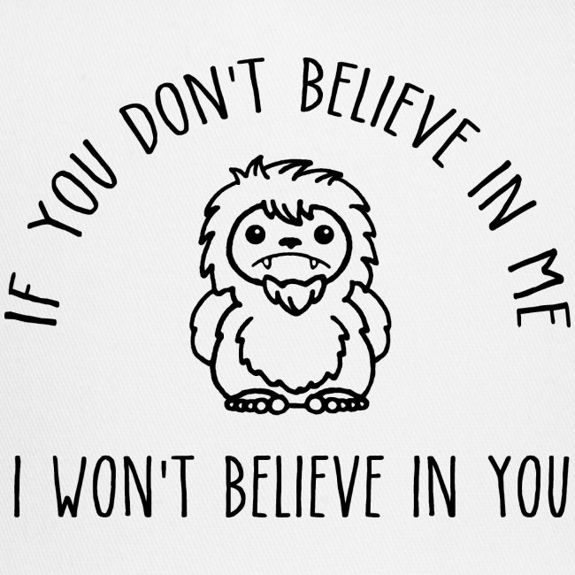 Believe Bigfoot Sasquatch Cute Chibi Black Print