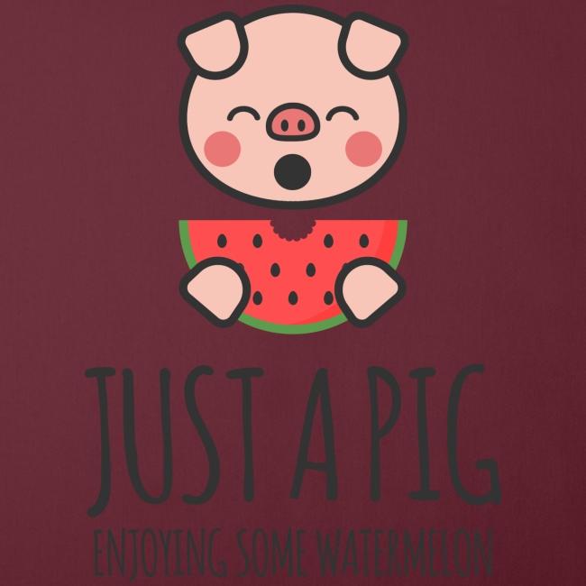 Just A Pig Enjoying Some Watermelon