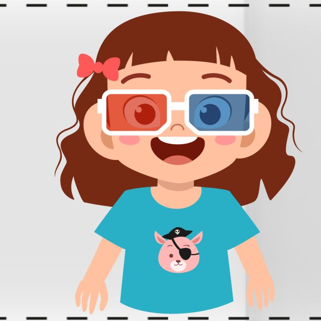 Girl red blue 3D glasses doing Vision Therapy