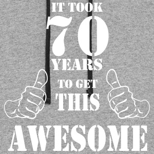 70th Birthday Get Awesome T Shirt Made in 1947 - Colorblock Hoodie