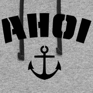Ahoi, Ahoy with anchor, stencil style - Colorblock Hoodie
