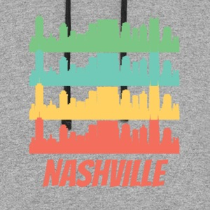Retro Nashville TN Skyline Pop Art - Colorblock Hoodie