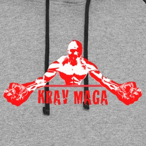 Krav Maga Fists (red and white) - Colorblock Hoodie