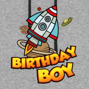 Birthday Boy Space Ship Astronaut Explorer - Colorblock Hoodie