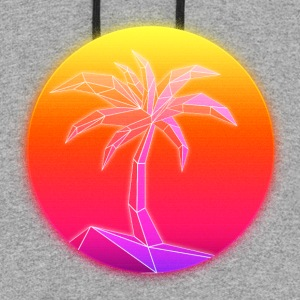 Sunset Palmtree, 80's Style - Colorblock Hoodie