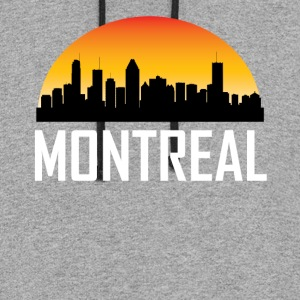Sunset Skyline Silhouette of Montreal QC - Colorblock Hoodie
