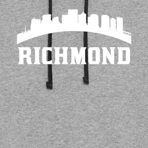 Vintage Style Skyline Of Richmond VA - Colorblock Hoodie