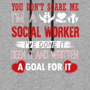 Can't Scare A Social Worker Shirt - Colorblock Hoodie
