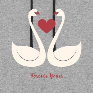 Forever Yours - Love Birds Swan Heart - Colorblock Hoodie