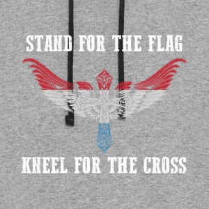 Stand for the flag Luxembourg kneel for the cross - Colorblock Hoodie