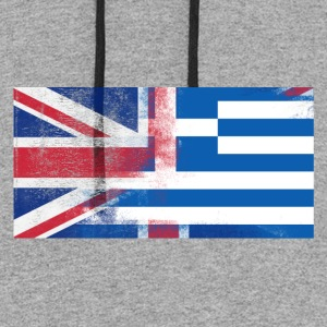 British Greek Half Greece Half UK FlagBritish Gree - Colorblock Hoodie