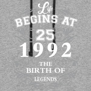Life begins at 25 1992 The birth of legends - Colorblock Hoodie
