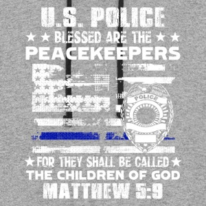 US POLICE BLESSED ARE PEACEKEEPERS TEE SHIRT - Colorblock Hoodie