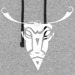 Cow Skull Tribal Art - Colorblock Hoodie