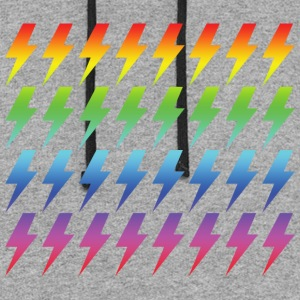 Retro Rainbow Lightning Bolt Repeated Pattern - Colorblock Hoodie