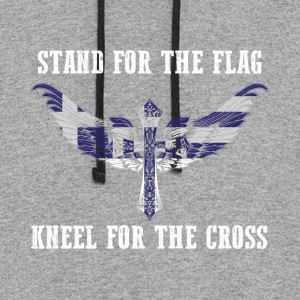 Stand for the flag Greece kneel for the cross - Colorblock Hoodie