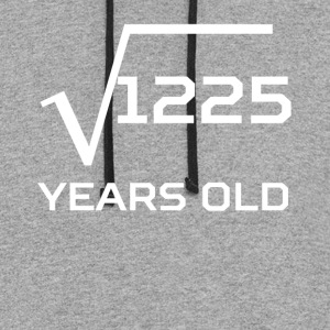 Square Root 1225 Funny 35 Years Old 35th Birthday - Colorblock Hoodie