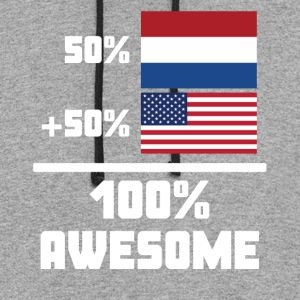 50% Dutch 50% American 100% Awesome Funny Flag - Colorblock Hoodie