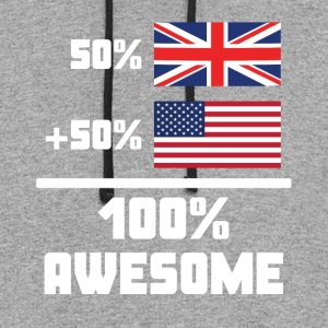 50% British 50% American 100% Awesome Funny Flag - Colorblock Hoodie