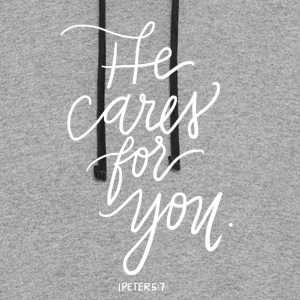 He Cares For You - Colorblock Hoodie
