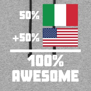 50% Italian 50% American 100% Awesome Funny Flag - Colorblock Hoodie