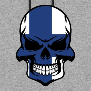 Finnish Flag Skull Cool Finland Skull - Colorblock Hoodie