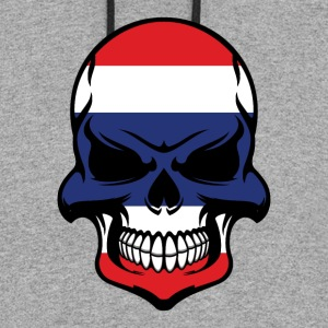 Thai Flag Skull Cool Thailand Skull - Colorblock Hoodie