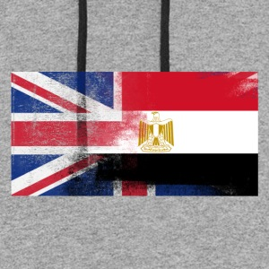 British Egyptian Half Egypt Half UK Flag - Colorblock Hoodie